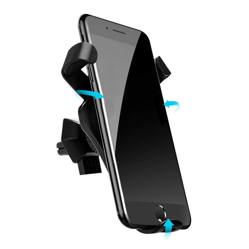 Wireless Car Charger Mount Air Vent Fast Charging Phone Holder Stand - Grey