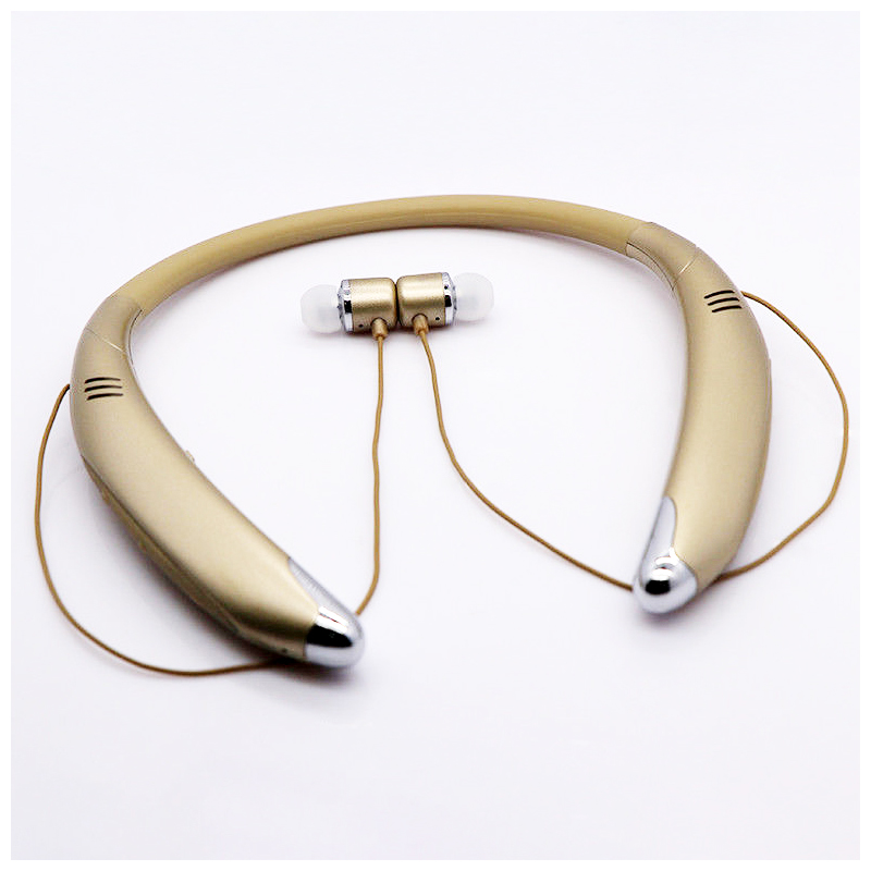 V8 Wireless Neckband Bluetooth Headset Stereo Sports Earphone Headphone - Golden