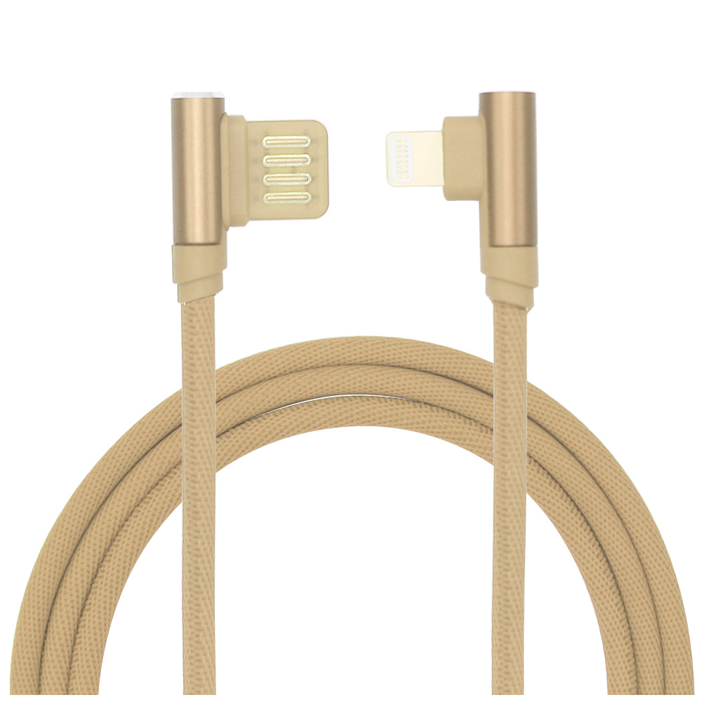 1M Braided 90 Degree Right Angle Lightning Data Sync Charger Charging Cable Adapter - Golden