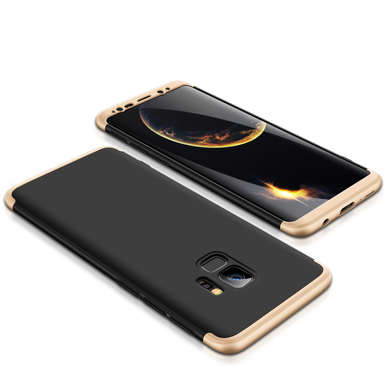 360 Degree Full Protective Cover Ultra Slim Hard Case for Samsung S9 - Black + Gold