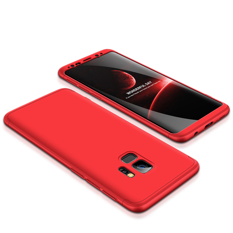 360 Degree Full Protective Cover Ultra Slim Hard Case for Samsung S9 - Red