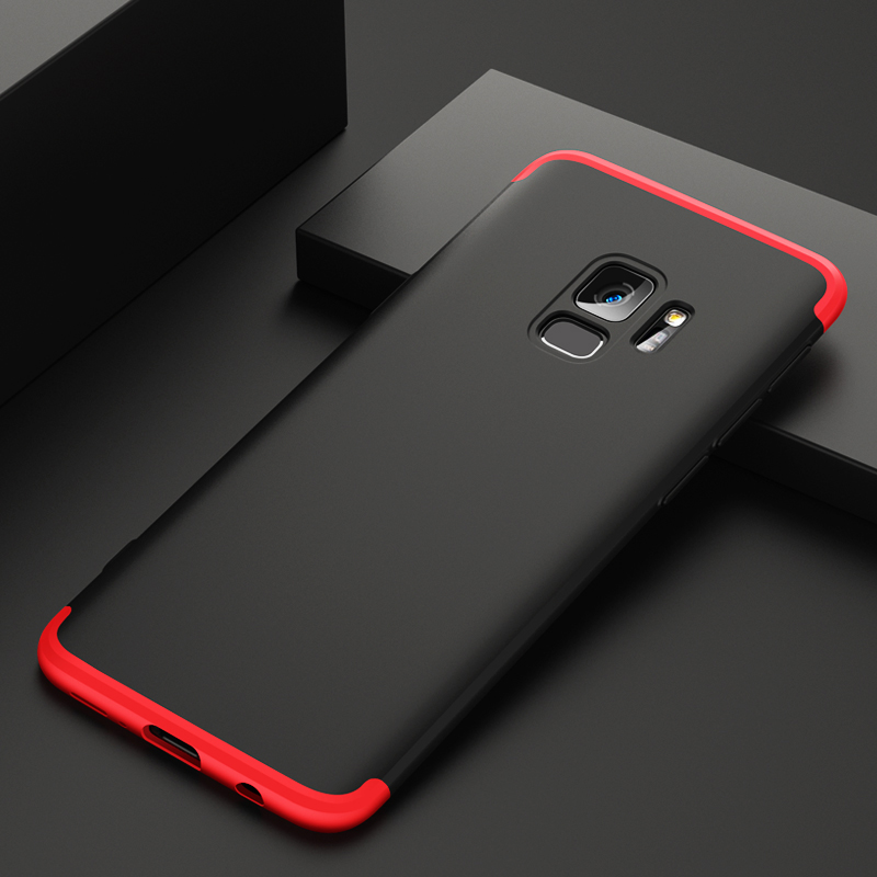 360 Degree Full Protective Cover Ultra Slim Hard Case for Samsung S9 - Black + Red