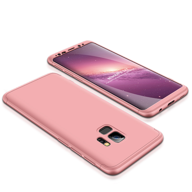 360 Degree Full Protective Cover Ultra Slim Hard Case for Samsung S9 - Rose Gold