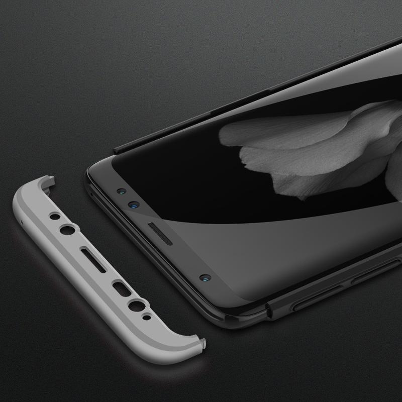 360 Degree Full Protective Cover Ultra Slim Hard Case for Samsung S9 - Black + Silver