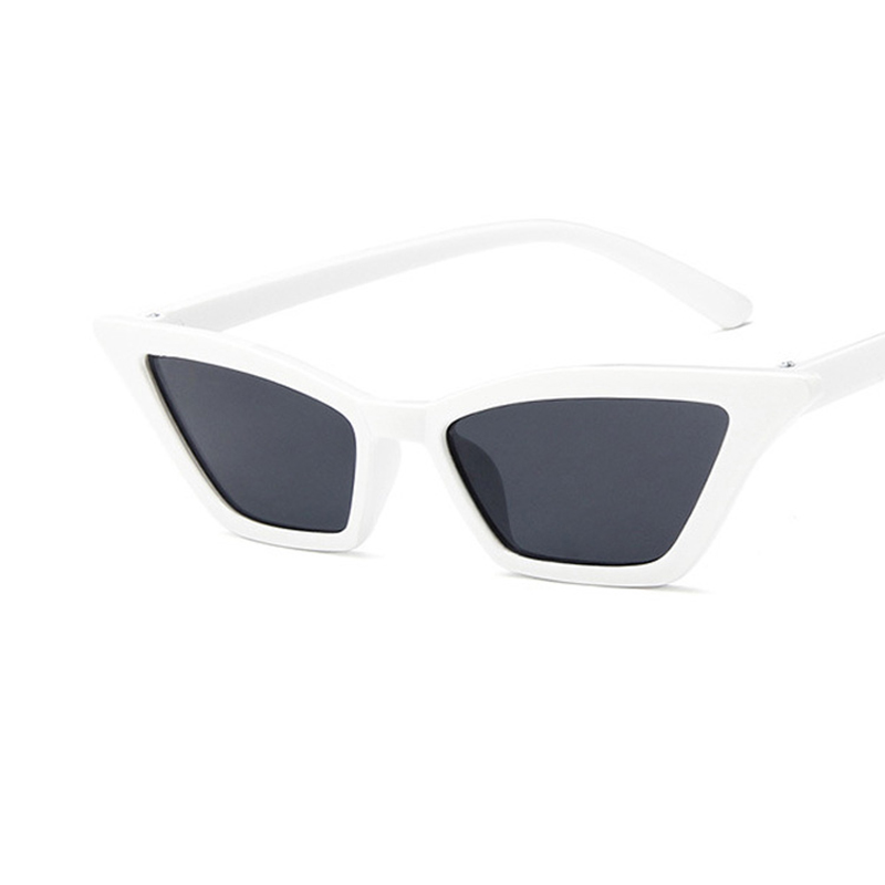 Women's Retro Cat Eye Sunglasses Outdoor Sunglasses Eyewear - White + Grey