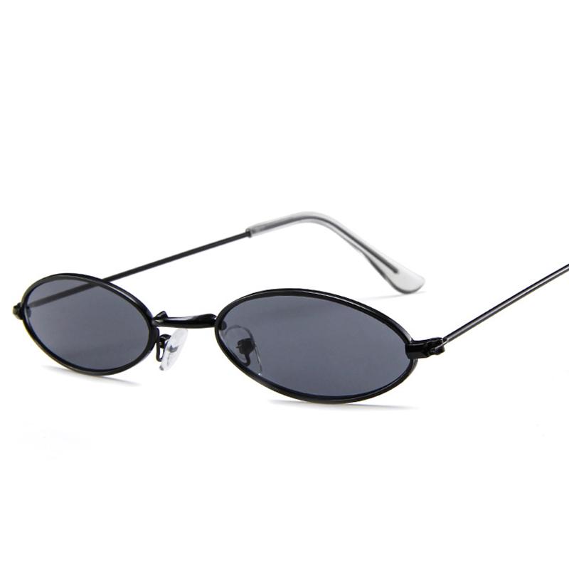 Unisex Retro Vintage Small Oval Sunglasses Metal Frame Shades Eyewear - Black + Grey