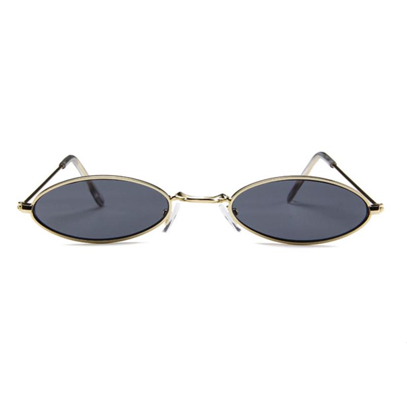 Unisex Retro Vintage Small Oval Sunglasses Metal Frame Shades Eyewear - Gold + Grey