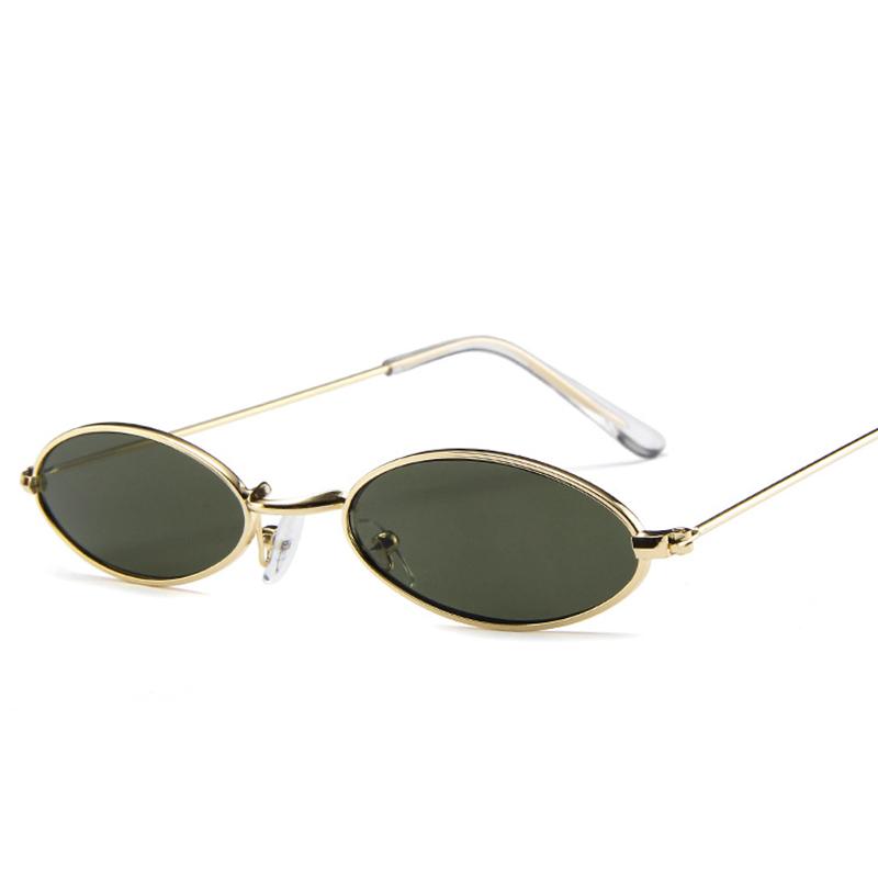 Unisex Retro Vintage Small Oval Sunglasses Metal Frame Shades Eyewear - Gold + Green