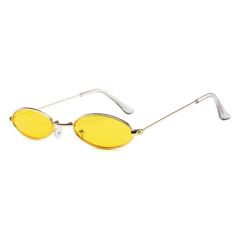 Unisex Retro Vintage Small Oval Sunglasses Metal Frame Shades Eyewear - Gold + Yellow