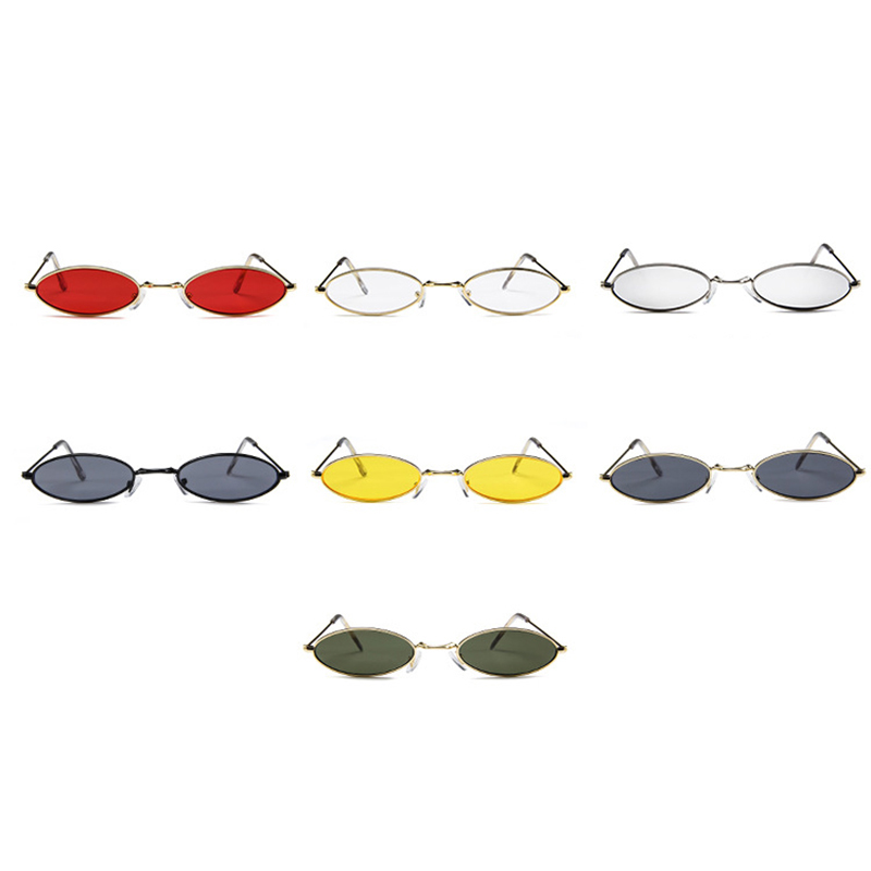 Unisex Retro Vintage Small Oval Sunglasses Metal Frame Shades Eyewear - Gold + Red