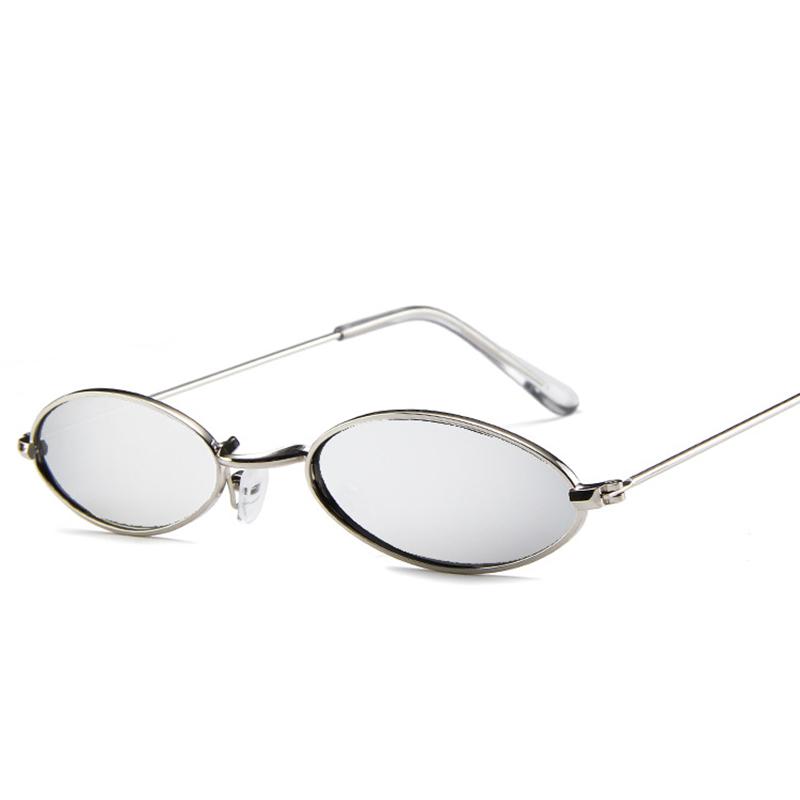 Unisex Retro Vintage Small Oval Sunglasses Metal Frame Shades Eyewear - Silver