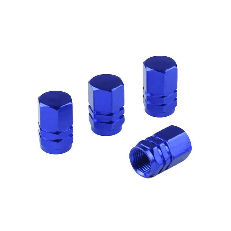 4pcs Aluminum Car Wheel Tires Valves Tyre Stem Air Caps Airtight Covers - Blue