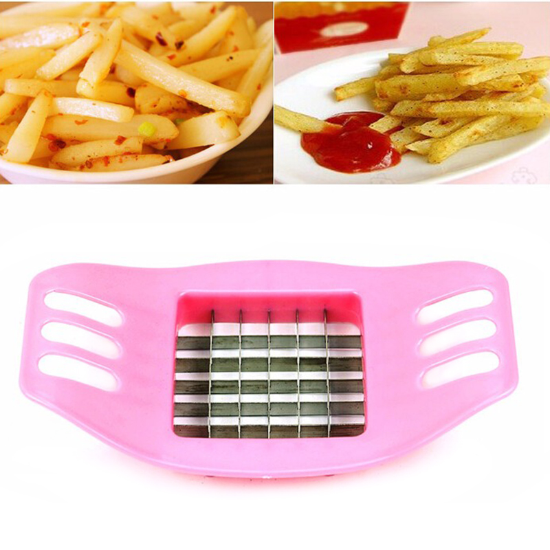 French Fry Potato Chip Cutter Vegetable Fruit Slicer Chopper Chipper Blade Dicer - Random Colour
