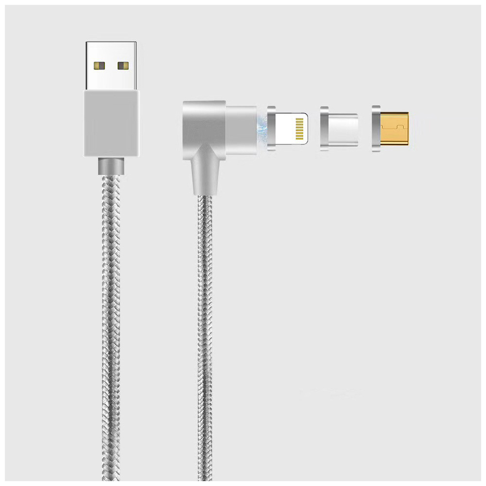 1m 3in1 Right Angle Magnetic Knit Braid Micro USB/Lightning/Type-C Data Cable - Silver