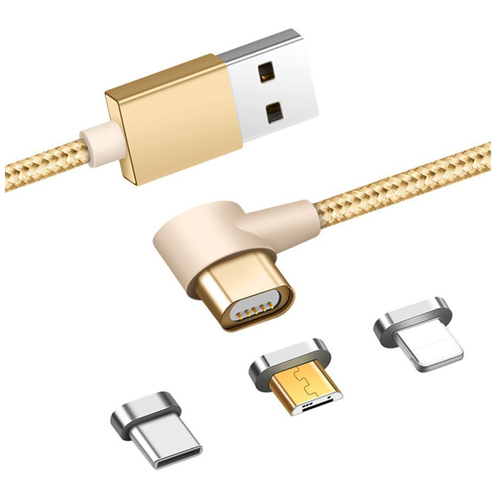 1m 3in1 Right Angle Magnetic Knit Braid Micro USB/Lightning/Type-C Data Cable - Golden