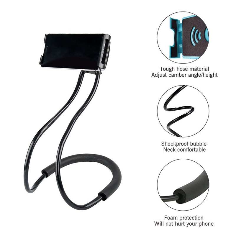 Lazy Cellphone Holder Universal Flexible Tablet Phone Mount Stand Bracket - Black