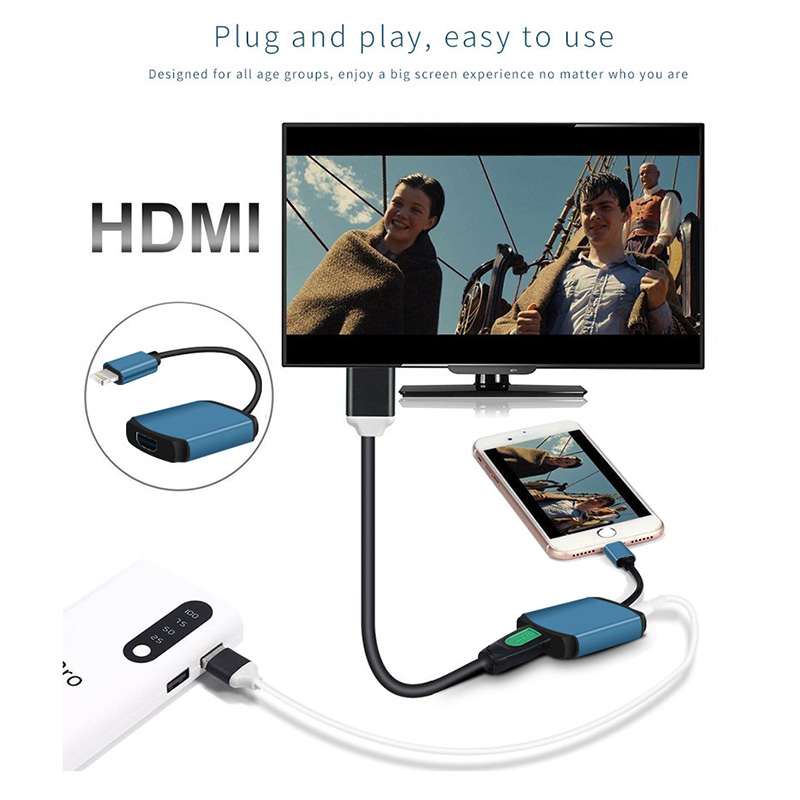 MiraScreen LM1 Lightning to HDMI 1080P Full-HD TV Cable Adapter for iPhone iPad