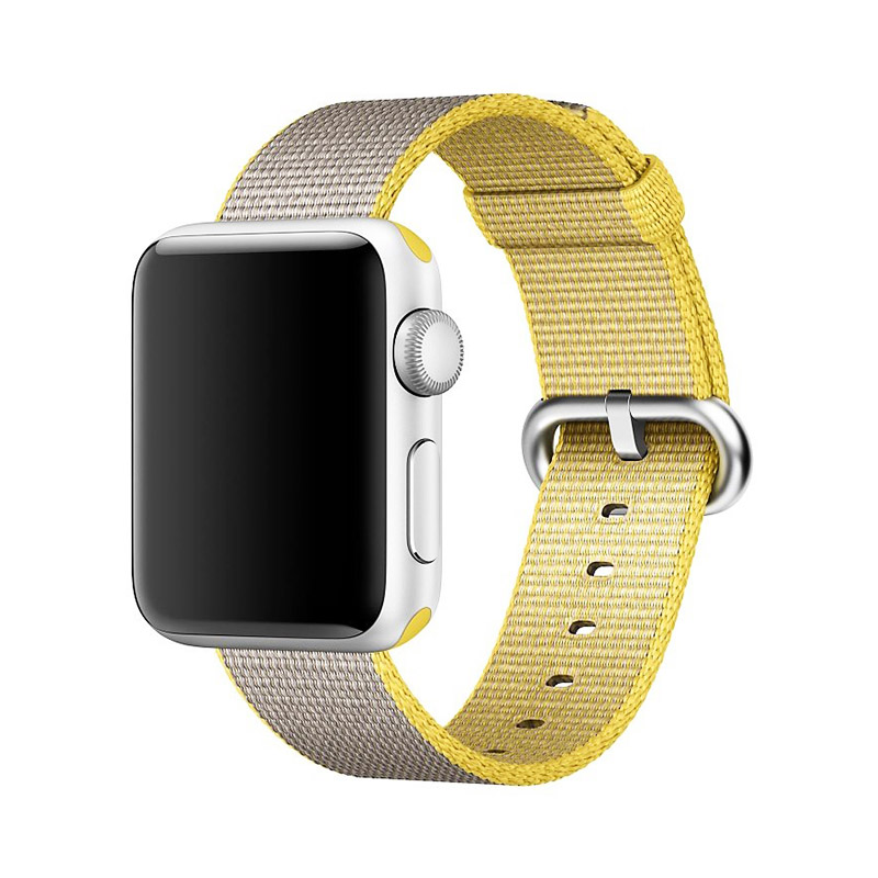 38mm Nylon Woven Sports Watch Band Flexible Breathable Bracelet Band Strap for Apple Watch - Yellow