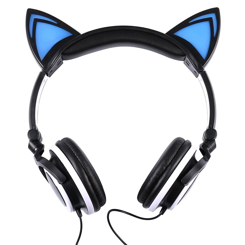 Cat Ear LED Headset Foldable Over-Ear Headphone Earphone with LED Lights for Kids Girls - Black