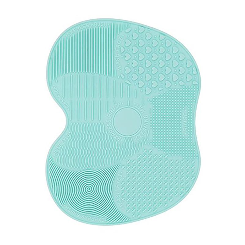 Makeup Brushes Cleaning Mat Soft Silicone Suction Cosmetic Brush Washing Tool - Blue