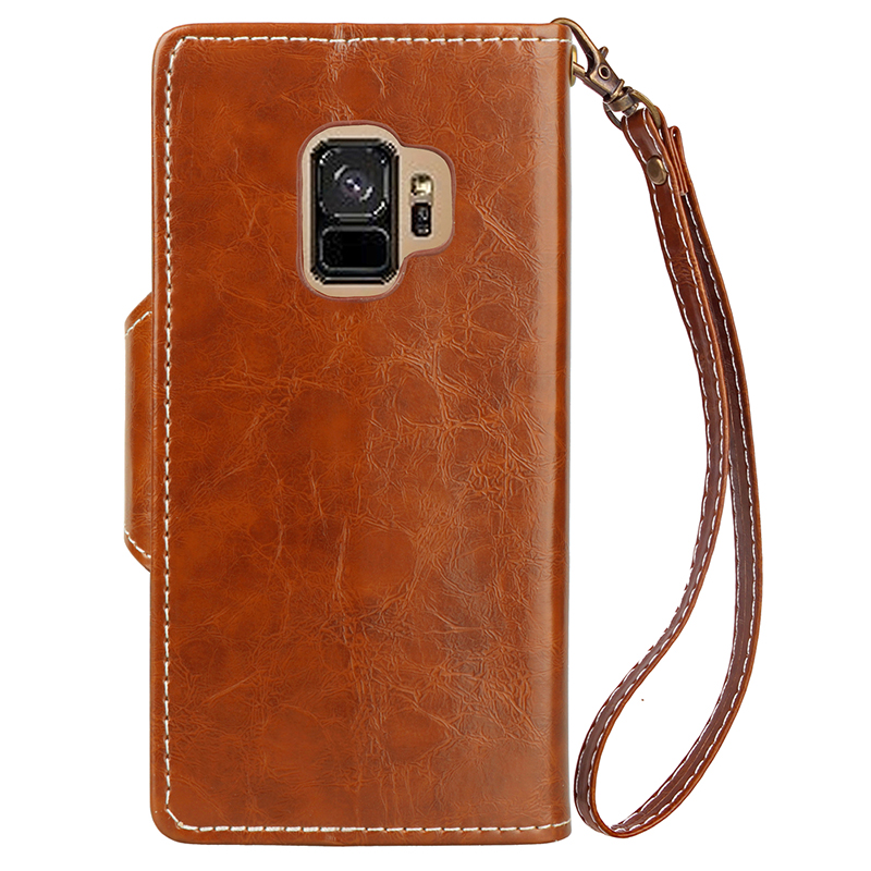 Retro Vintage Shockproof PU Leather Case Flip Stand Wallet Cover With Card Slots for Samsung S9 - Brown