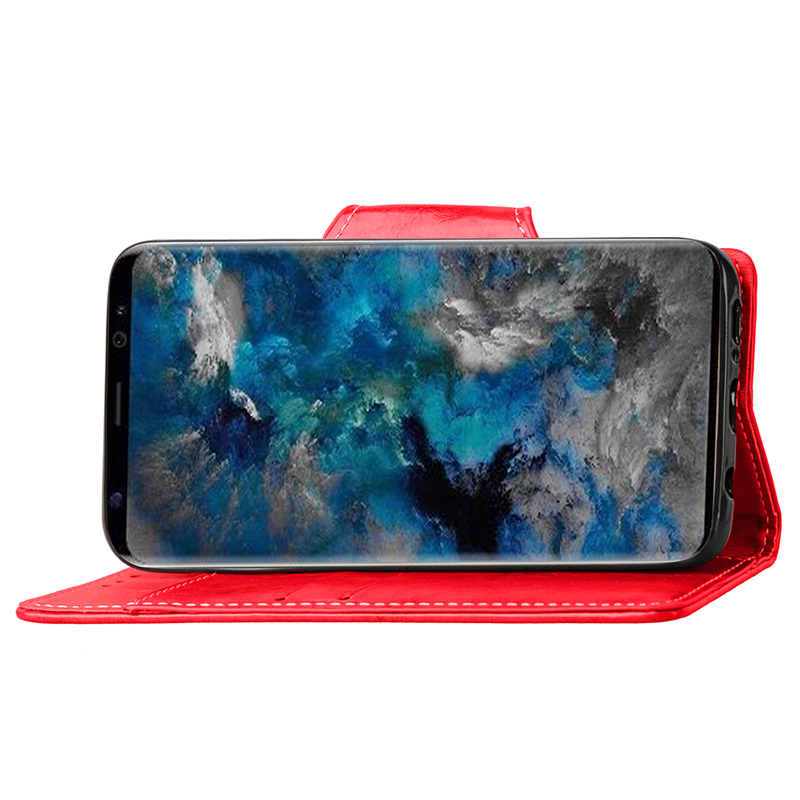Retro Vintage Shockproof PU Leather Case Flip Stand Wallet Cover With Card Slots for Samsung S9 - Red