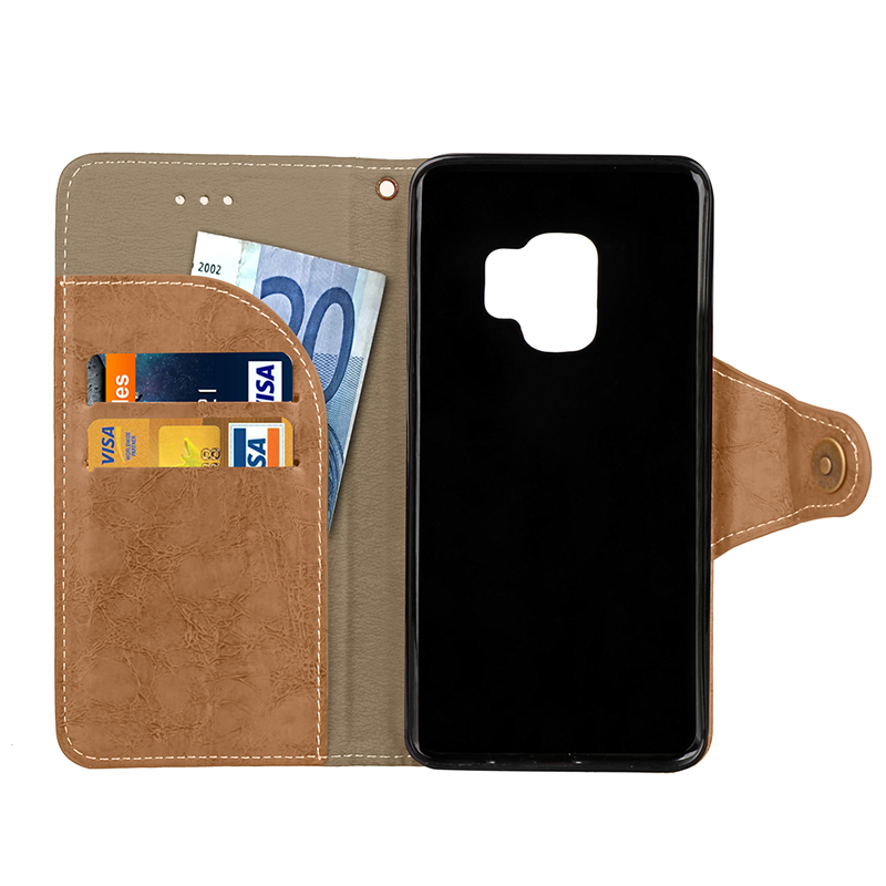 Retro Vintage Shockproof PU Leather Case Flip Stand Wallet Cover With Card Slots for Samsung S9 - Grey