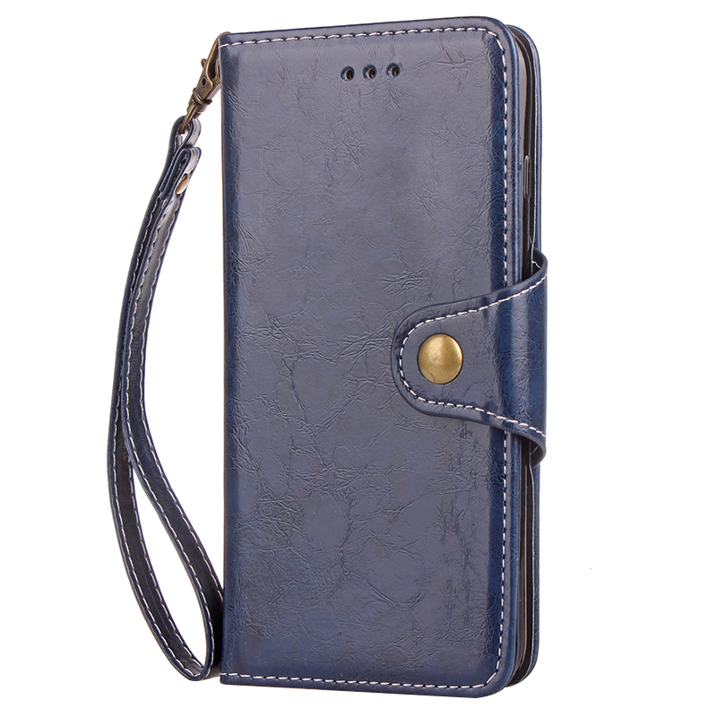 Retro Vintage Shockproof PU Leather Case Flip Stand Wallet Cover With Card Slots for Samsung S9 - Blue