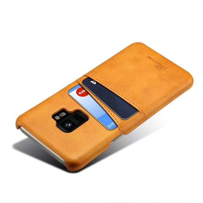 Samsung S9 Slim Thin Vintage PU Leather Wallet Case Back Cover with Card Holders - Khaki