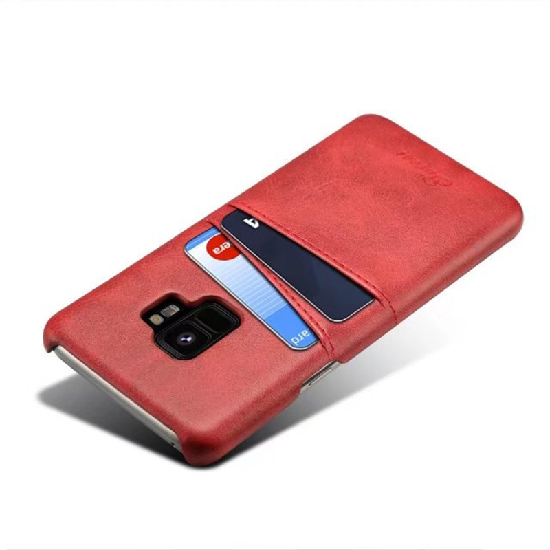 Samsung S9 Slim Thin Vintage PU Leather Wallet Case Back Cover with Card Holders - Red