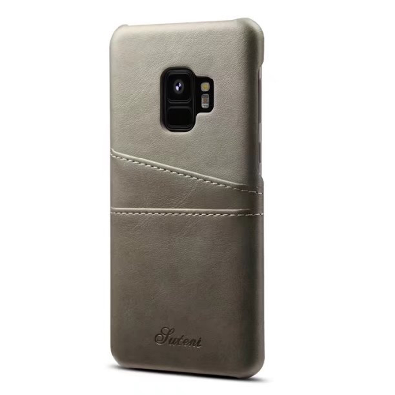 Samsung S9 Slim Thin Vintage PU Leather Wallet Case Back Cover with Card Holders - Grey