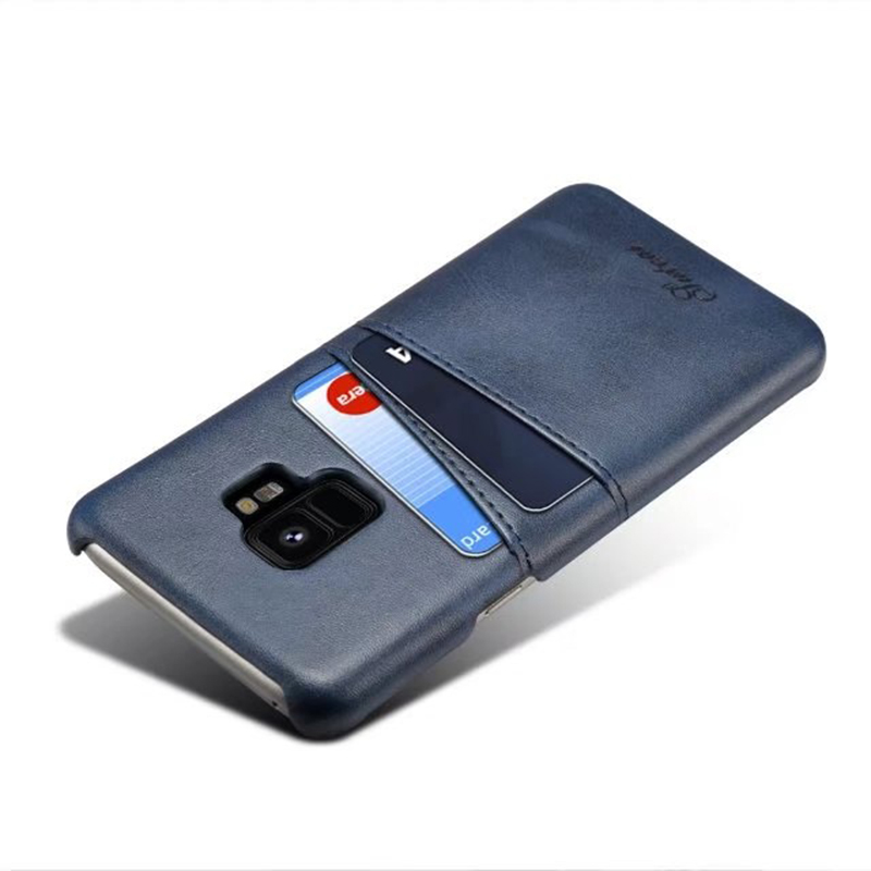 Samsung S9 Slim Thin Vintage PU Leather Wallet Case Back Cover with Card Holders - Blue