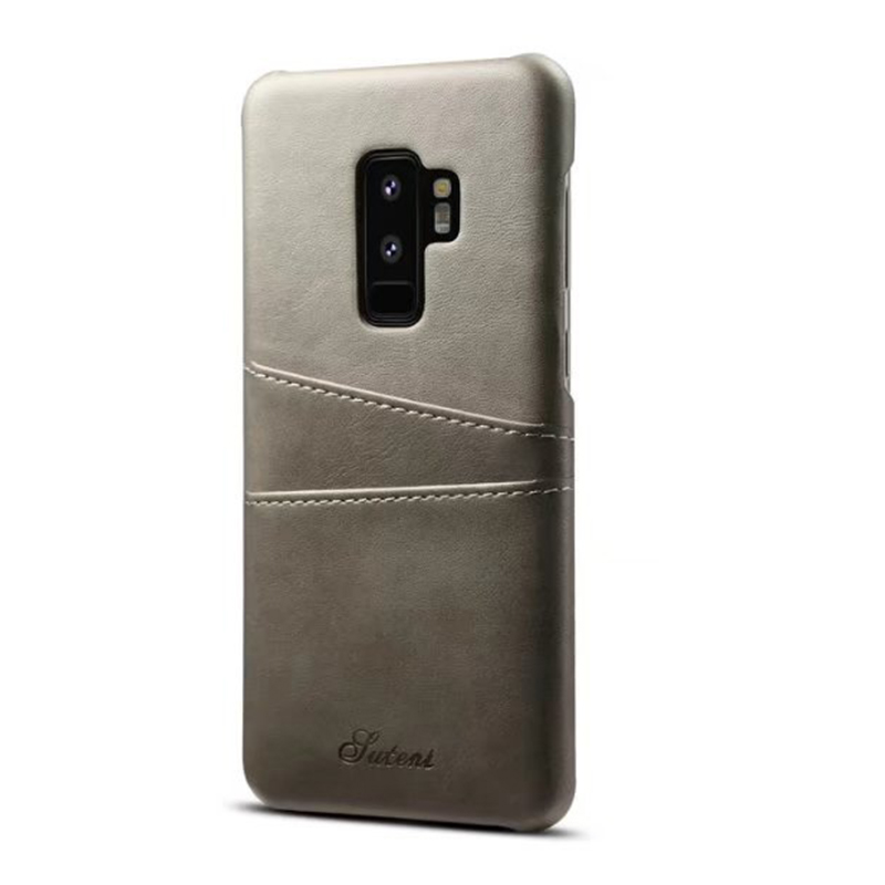 Ultra-Slim Vintage Wallet PU Leather Case Back Cover for Samsung S9 Plus - Grey