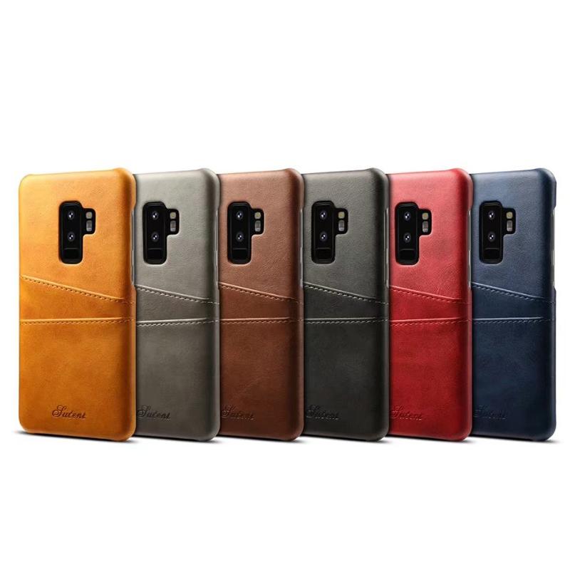 Ultra-Slim Vintage Wallet PU Leather Case Back Cover for Samsung S9 Plus - Grey