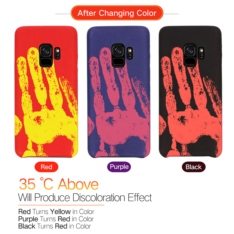 Soft TPU Thermal Induction Discoloration Back Case Cover for Samsung S9 - Red
