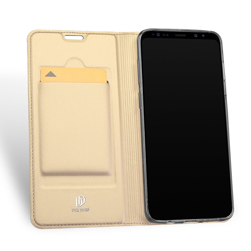 Luxury Ultra-thin Stand PU Leather Case Bumper Cover for Samsung S9 - Gold