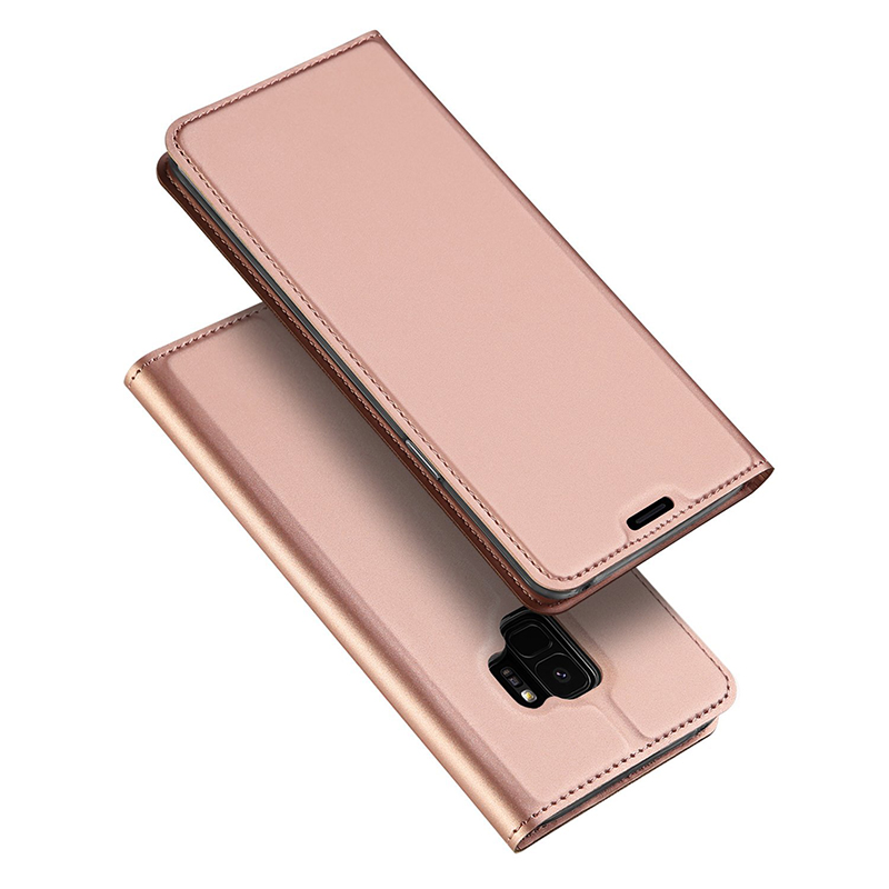 Luxury Ultra-thin Stand PU Leather Case Bumper Cover for Samsung S9 - Rose Gold