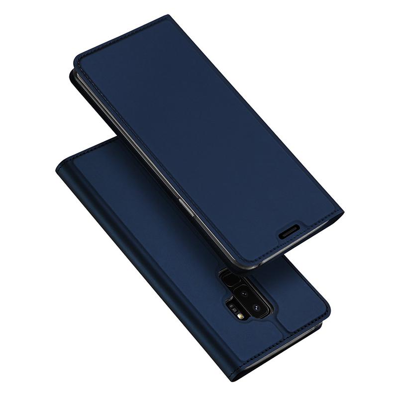 Samsung S9 Plus Slim Skin PU Leahter Flip Case Phone Cover - Blue