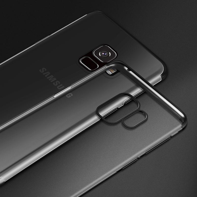 Plating Clear Slim Soft TPU Shockproof Case Cover for Samsung S9 - Black