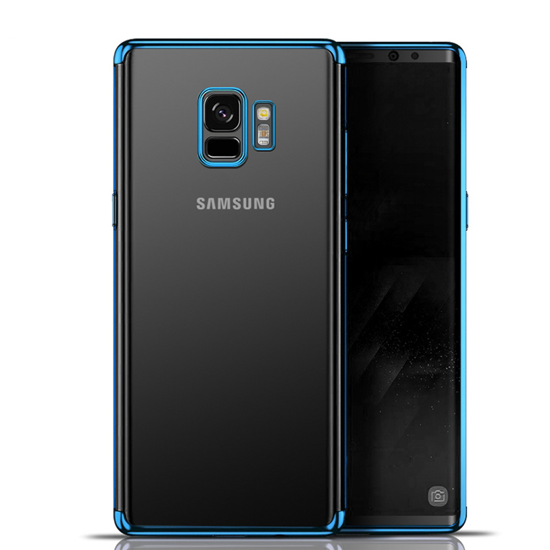 Plating Clear Slim Soft TPU Shockproof Case Cover for Samsung S9 - Blue