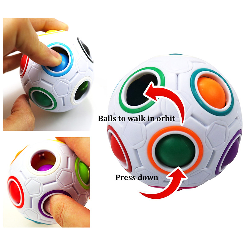 Magic Rainbow Ball Fidget Toy 3D Puzzles Speed Cube Football Brain Teaser Funny Gift for Kids Adults