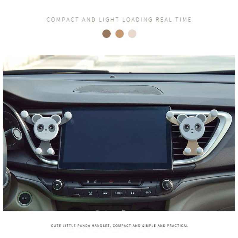 Cute Panda Car Air Vent Universal Mobile Phone Holder Stand Mount - Silver