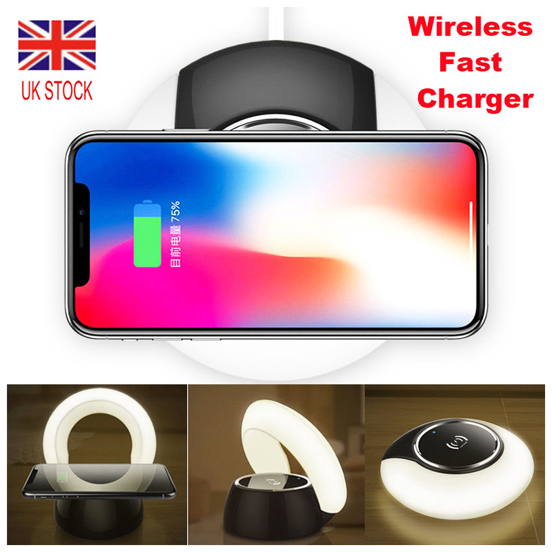 Qi Fast Wireless Charger Charging Dock Pad with LED Night Light - White Light