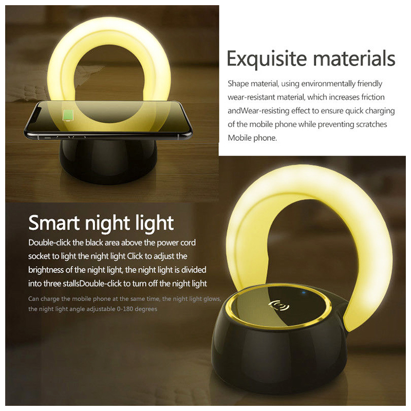 Qi Fast Wireless Charger Charging Dock Pad with LED Night Light - Warm Light