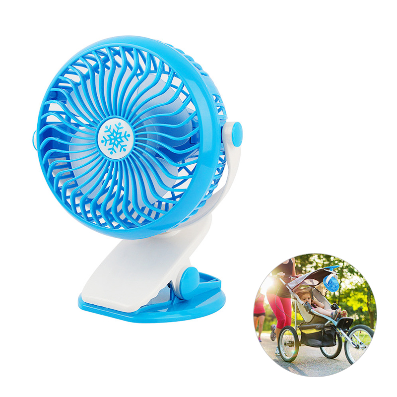 Portable Rechargeable Mini USB Fan Oscillating Clip On Desk Baby Stroller Cooler - Blue