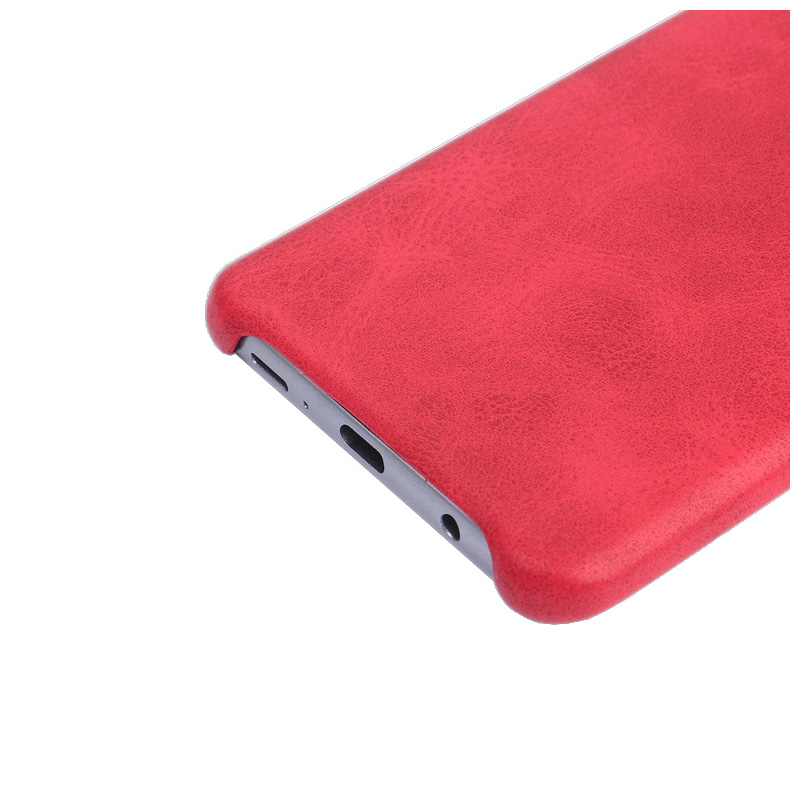 Premium Vintage PU Leather Case Ultra-thin Flexible Shockproof Back Cover for Samsung S9 - Red