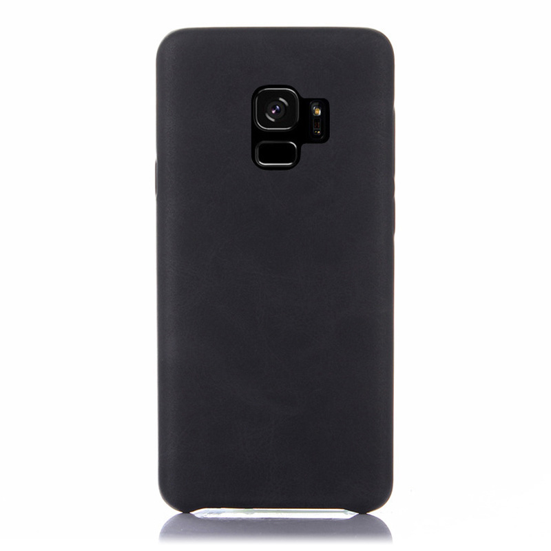 Premium Vintage PU Leather Case Ultra-thin Flexible Shockproof Back Cover for Samsung S9 - Black