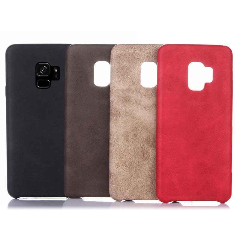 Premium Vintage PU Leather Case Ultra-thin Flexible Shockproof Back Cover for Samsung S9 - Brown