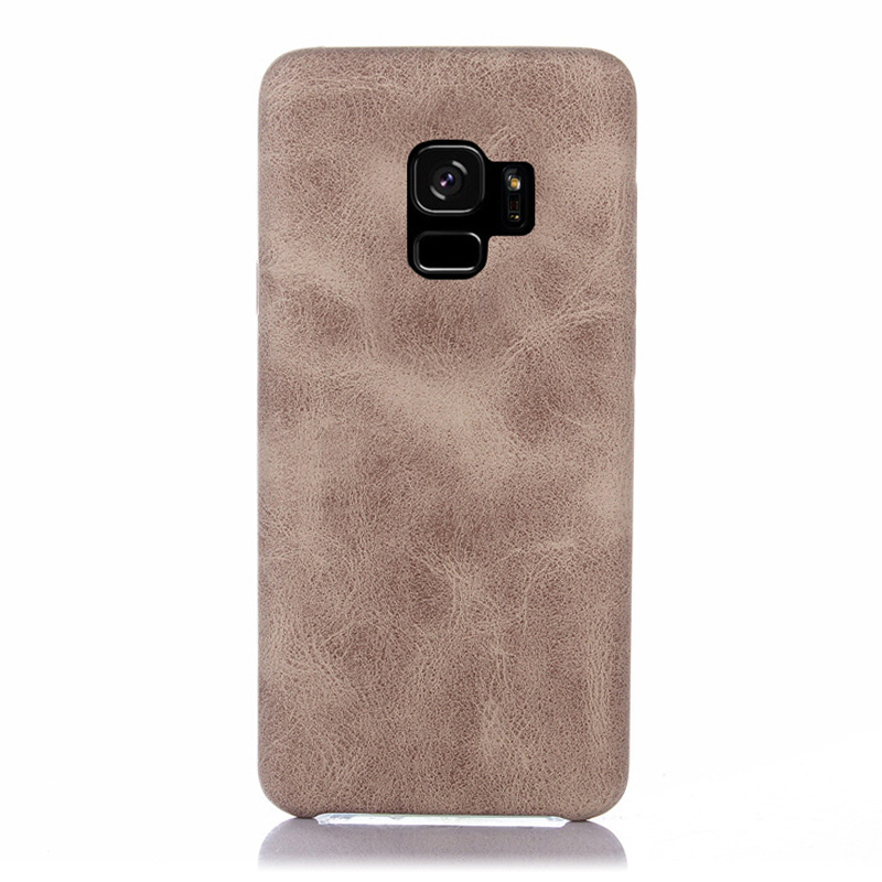 Premium Vintage PU Leather Case Ultra-thin Flexible Shockproof Back Cover for Samsung S9 - Beige