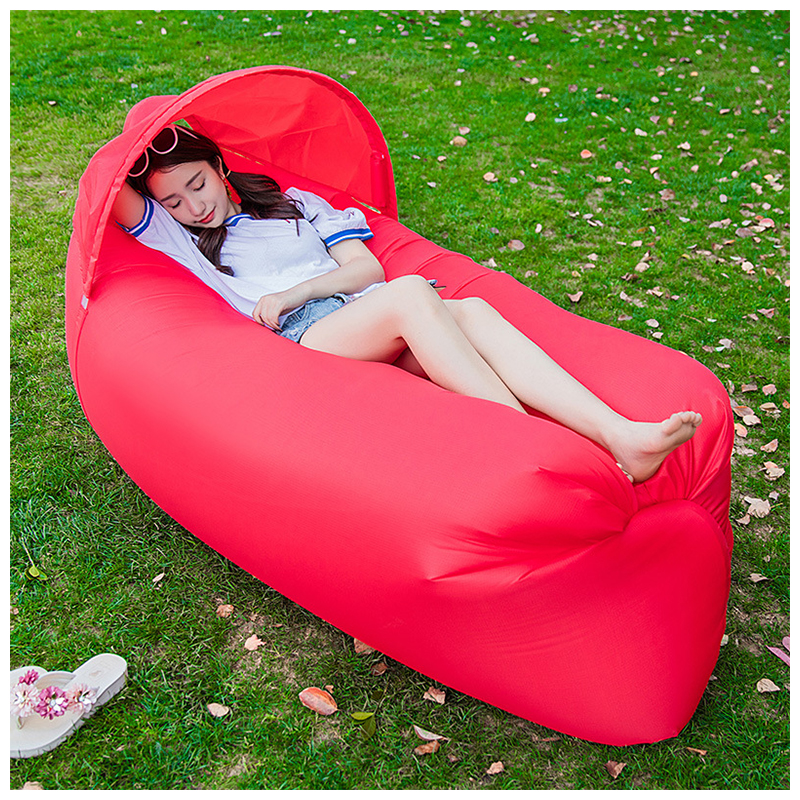 Outdoor Foldable Sleeping Bag Fast inflatable Air Lazy Lounging Sofa Couch Bed with Sun Visor - Red